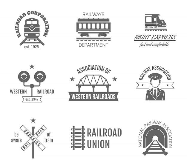 Railway label set Free Vector