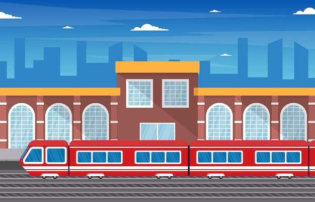 Railway public transport commuter metro train station flat illustration Premium Vector