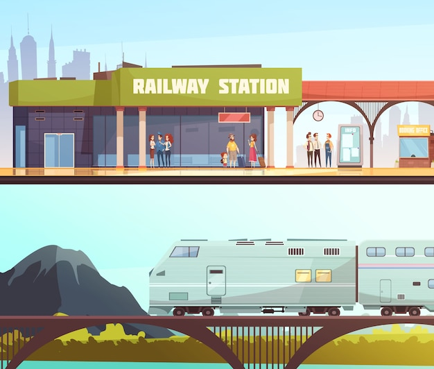 Railway station and bridge horizontal banners Free Vector