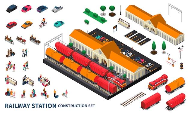 Set di costruzione della stazione ferroviaria Vettore gratuito