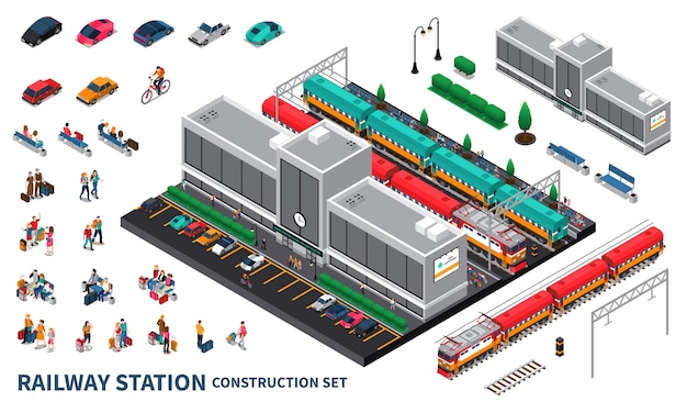 Railway station constructor set Free Vector