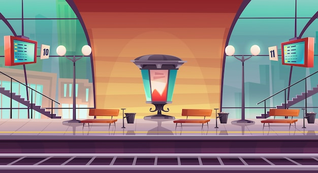 Railway station, empty railroad platform for train Free Vector
