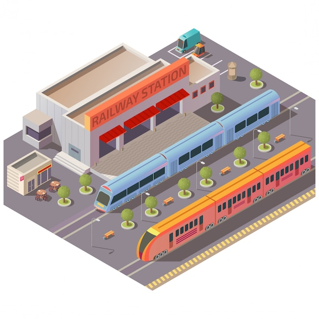 Railway station exterior isolated isometric vector Free Vector