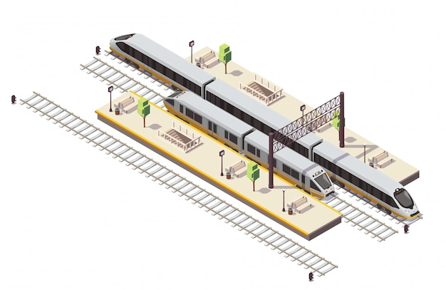 Railway station isometric composition with passenger platforms staircase tunnel entrance rail bus and high speed train Free Vector