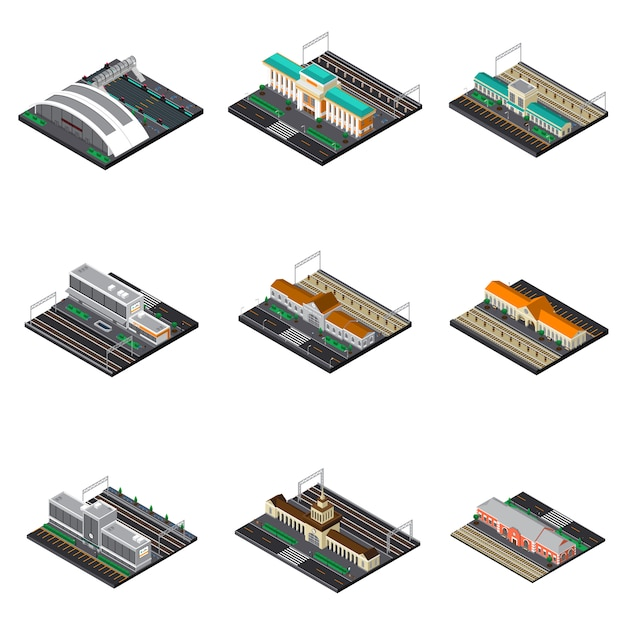 Railway station isometric set Free Vector