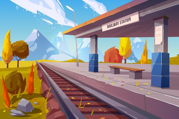 Railway station at mountains autumn landscape Free Vector