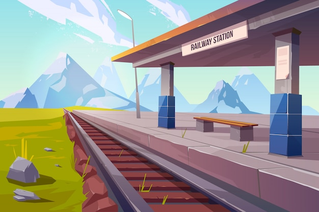 Railway station at mountains Free Vector