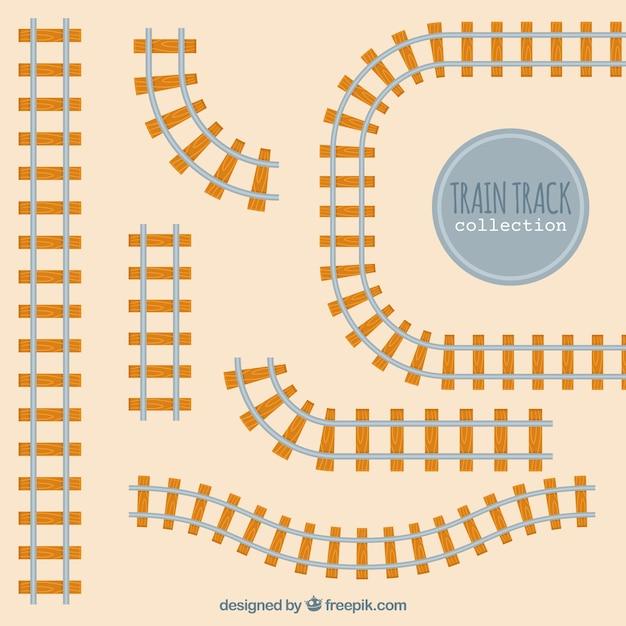 Railway tracks in flat design Free Vector