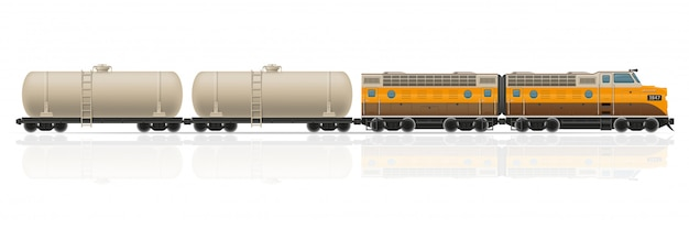 Railway train with locomotive and wagons vector illustration Premium Vector