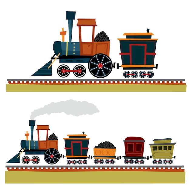 Железнодорожный поезд Premium векторы