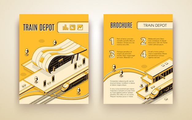 Railway transport company isometric advertising brochure Free Vector