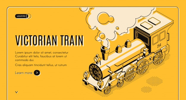 Railway transport history museum isometric web banner Free Vector