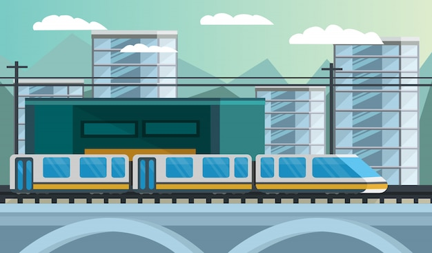 Railway transport orthogonal illustration Free Vector