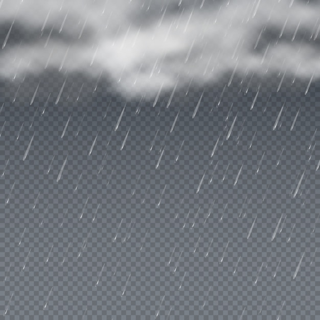 Rain  3d  with falling water drops and grey storm clouds. raindrop weather backdrop, rain splash shower Premium Vector