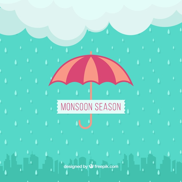 Rain background in the city and umbrella Free Vector