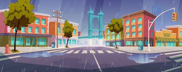 Rain on city street with houses, road with pedestrian crosswalk and traffic lights Free Vector