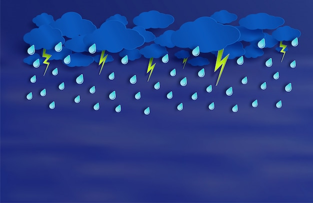 The rain is going to fall on night sky Premium Vector