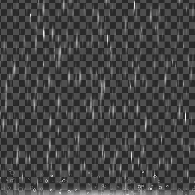透明な背景、現実的な効果に分離された雨。自然の土砂降りの降雨。水たまりの泡。 Premiumベクター