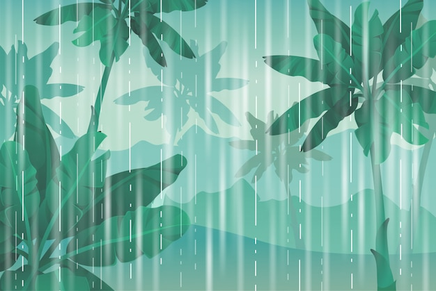 Rain in the jungle. Premium Vector