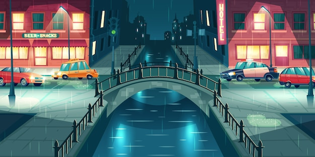 Rain on night town street cartoon vector. police and taxi cars going on city road illuminated with lampposts, crossing river or water channel with retro arch bridge in rainy, wet weather illustration Free Vector