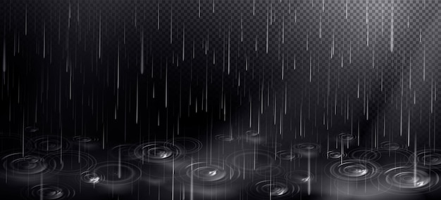 Rain and puddle with circles from falling drops. Free Vector