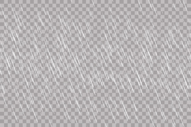 Rain transparent template background. falling water drops texture. nature rainfall on checkered background. Premium Vector