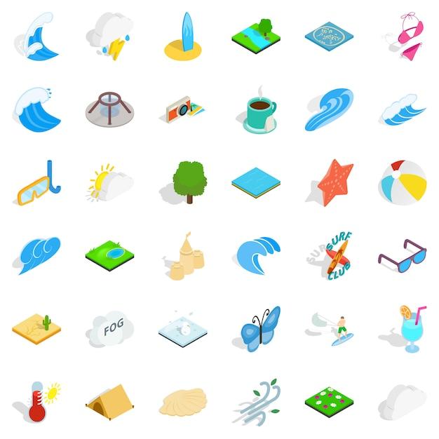 Rain water icons set, isometric style Premium Vector
