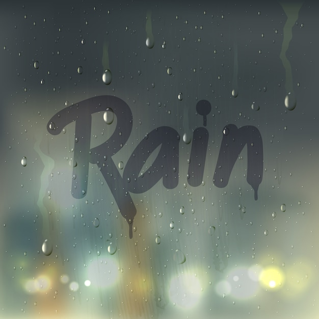 Rain word on misted glass composition Premium Vector
