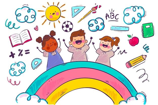 虹と子供の学校の背景 Premiumベクター