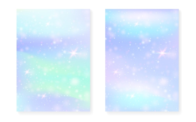 Rainbow background with kawaii princess gradient. magic hologram. Premium Vector