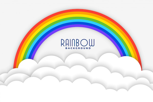 Rainbow background with white papercut clouds design Free Vector