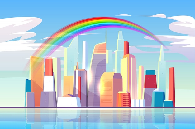 Rainbow above city skyline architecture waterfront Free Vector