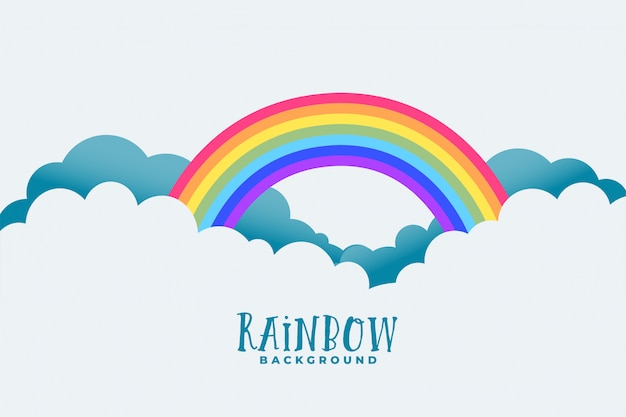 Rainbow above clouds background Free Vector