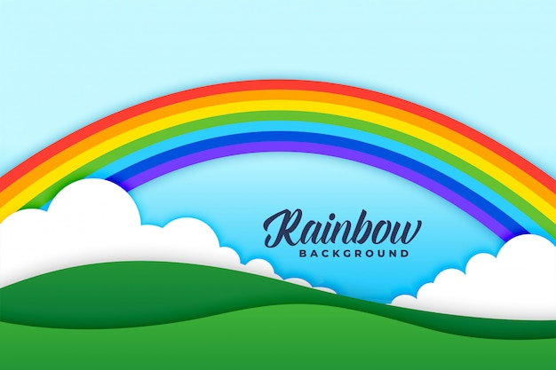 Rainbow clouds and meadows background scene Free Vector