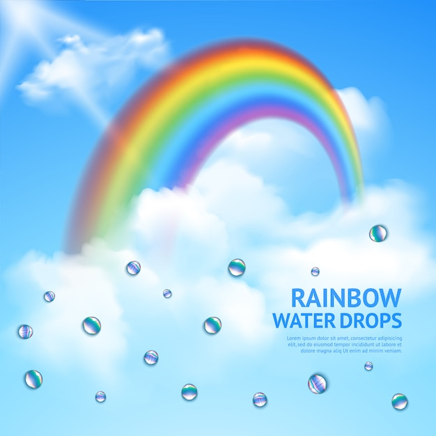 Rainbow in clouds realistic poster Free Vector