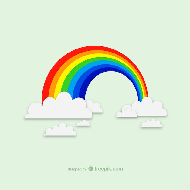 Rainbow over the clouds Free Vector