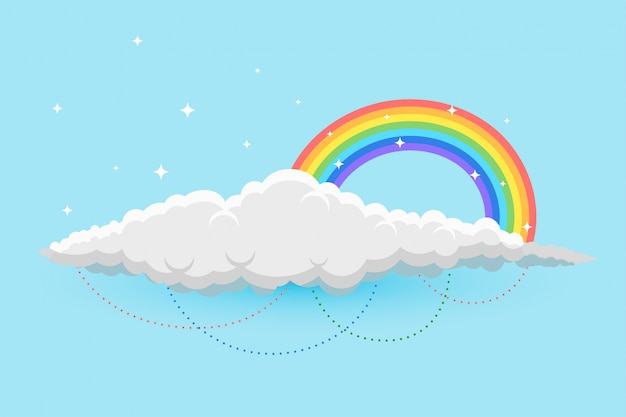 Rainbow and clous in sky background with stars Free Vector
