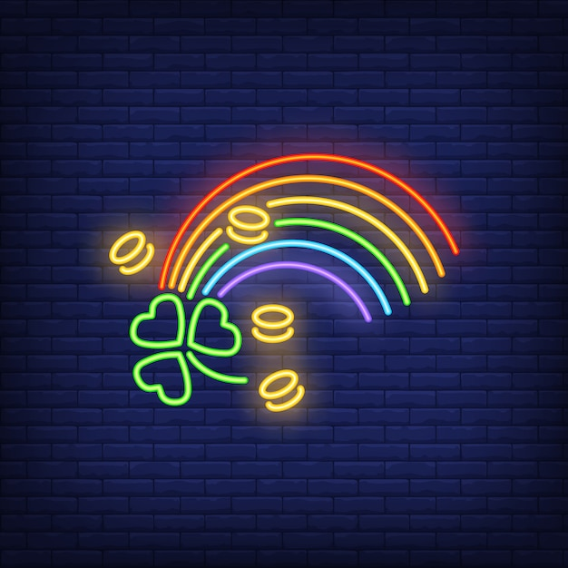 Rainbow, coins and clover neon sign Free Vector