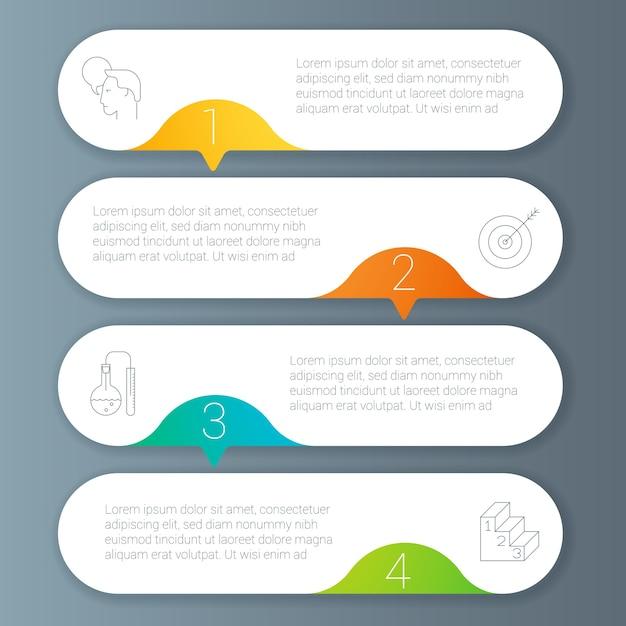무지개 색 Infographics 단계별 템플릿. 프리미엄 벡터