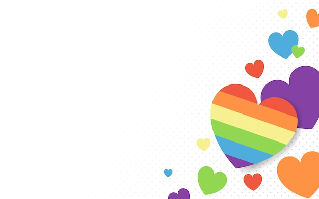Rainbow colored hearts background vector Free Vector