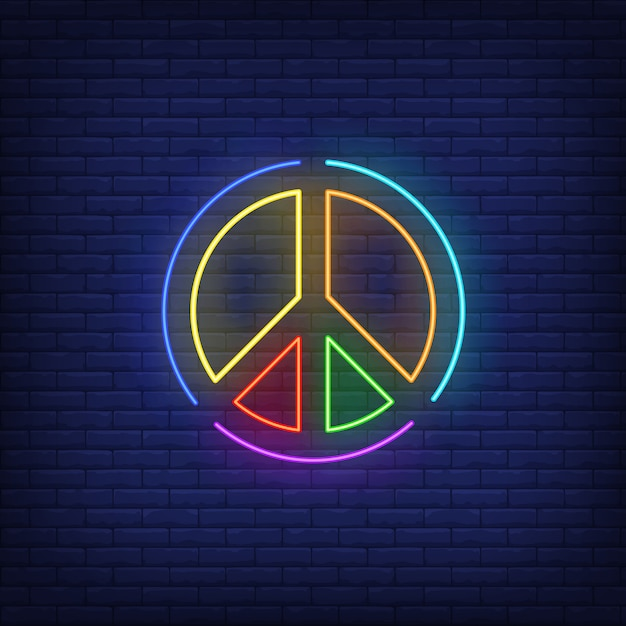 Rainbow colored peace emblem neon sign Free Vector