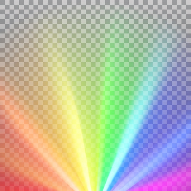 Rainbow colored rays with color spectrum flare Premium Vector