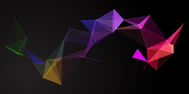 虹色の抽象的な低ポリバナーデザイン 無料ベクター