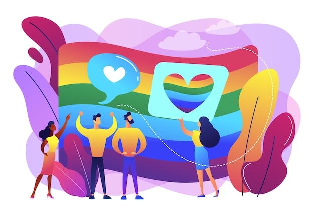 무지개 색깔의 깃발과 lgbt 커뮤니티 데모. 성적 및 성 정체성, 성적 지향, lgbt 운동 개념. 무료 벡터