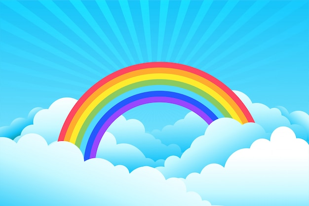Rainbow covered in clouds and sky background Free Vector