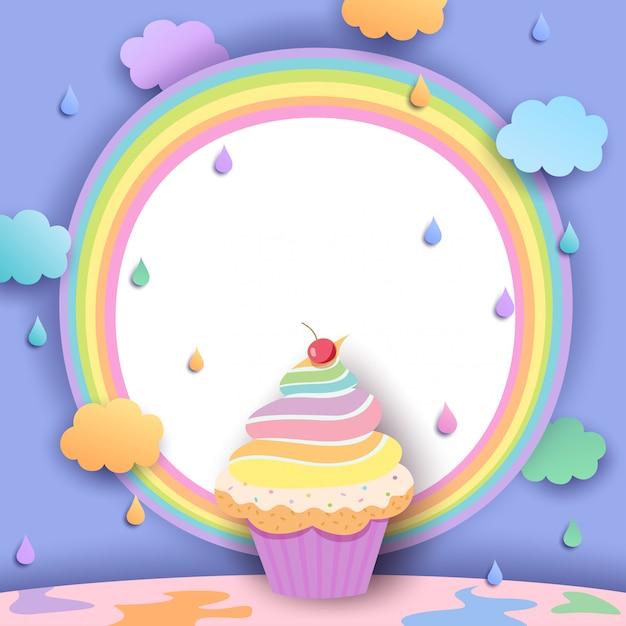 Rainbow-cupcake Premium Vector