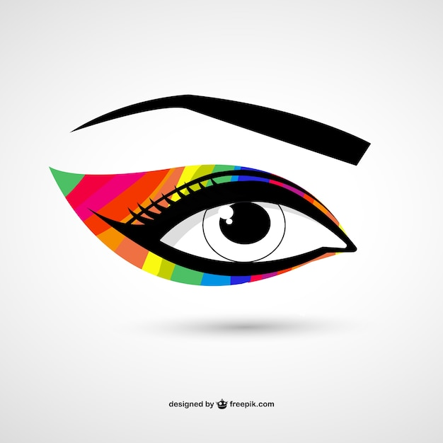 Rainbow eye make-up Free Vector