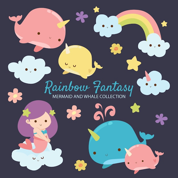Rainbow fantasy mermaid and whale Premium Vector