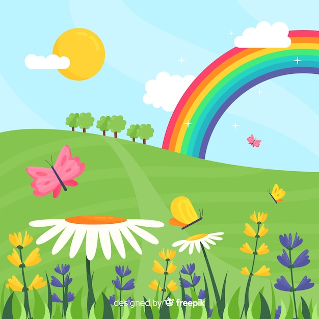 Rainbow field spring background Free Vector
