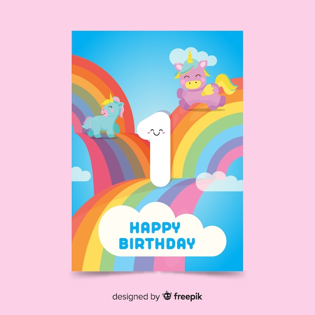 Rainbow first birthday card template Free Vector